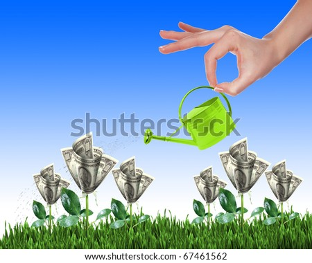Hand with a small watering can watering green grass and shrubs of dollar bills