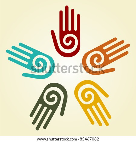 Hand with a spiral symbol on the palm, on a circle of hands background.
