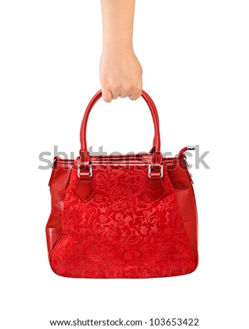 Hand with bag isolated on white background