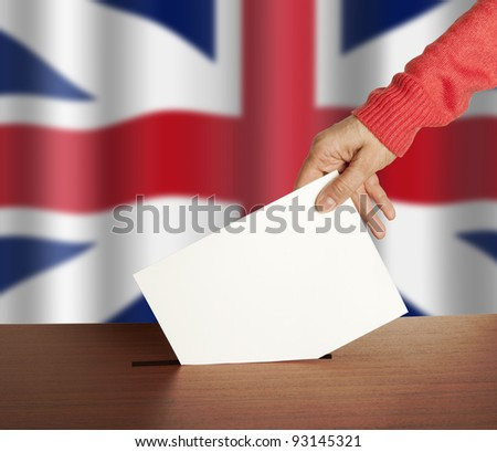 Hand with ballot and box on Flag of England