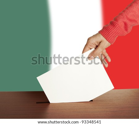 Hand with ballot and box on Flag of Italy