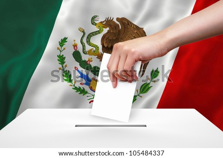 Hand with ballot and box on Flag of Mexico