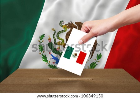 Hand with ballot and wooden box on Flag of Mexico