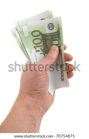 Hand with banknotes of one hundred euros