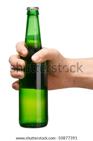 Hand with beer bottle isolated on a white