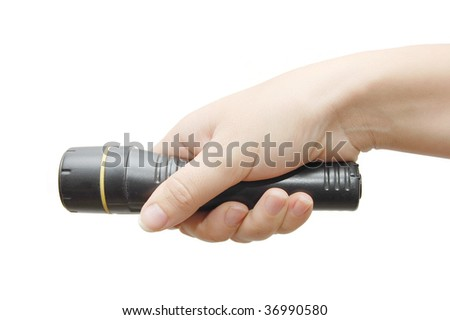Hand with black small lamp isolated on white
