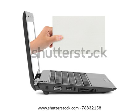 Hand with blank card and notebook isolated on white background