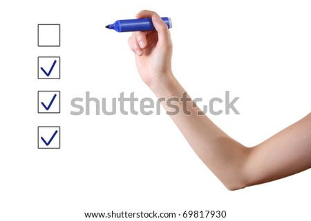 hand with blue marker and check boxes on white background