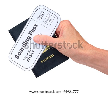 Hand with Boarding Pass and Passport isolated