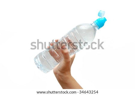 Hand with bottle of water isolated on white background
