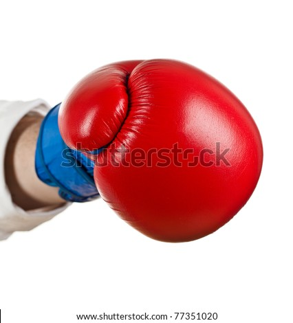 Hand with Boxing Gloves on white