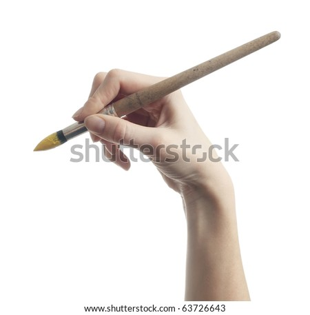 Hand with brush on white background