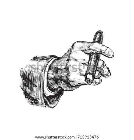 Hand With Cigar Hand Drawn Illustration