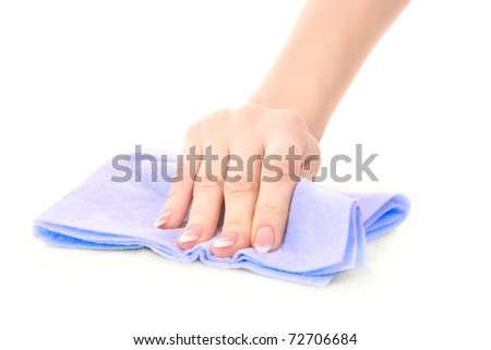 Hand with clean rag on white background