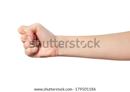 Hand with clenched a fist, isolated on a white background #179501186