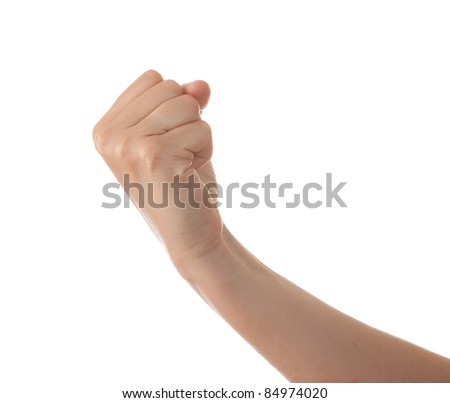 Hand with clenched fist, isolated on a white background