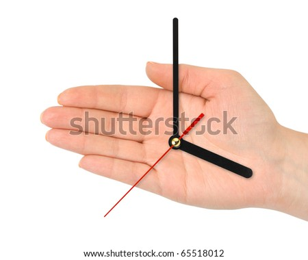 Hand with clock-hands isolated on white background