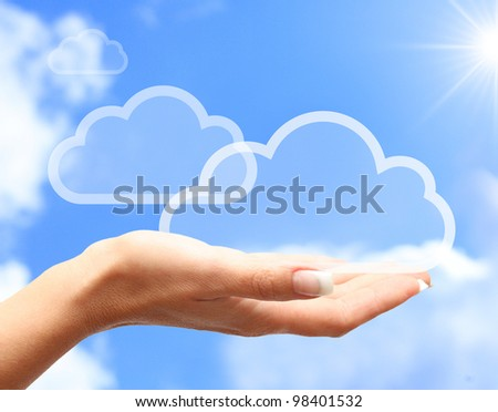 Hand with cloud computing symbol against blue sky. - stock photo