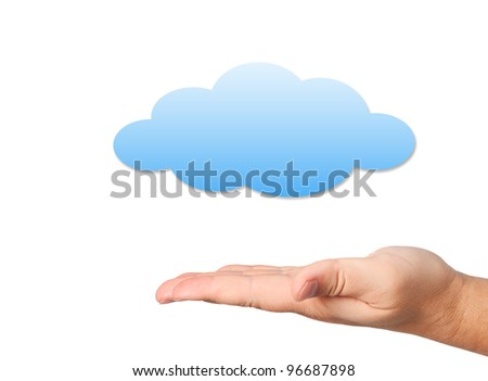 Hand with cloud on white background. Cloud computing concept.