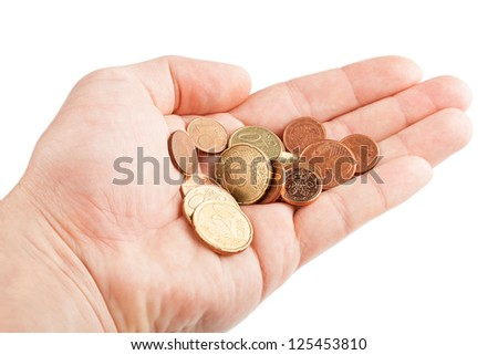 Hand with coins isolated on white background