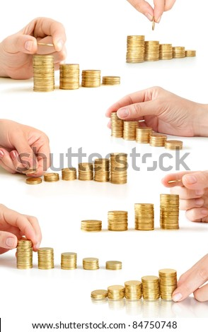 hand with coins like diagram collection
