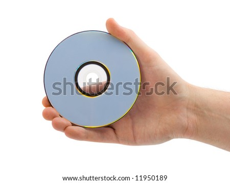 Hand with compact disk, isolated on white background