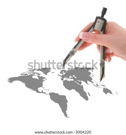 hand with compasses on world map isolated on white