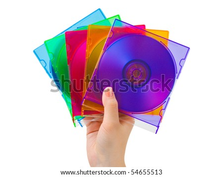 Hand with computer disks isolated on white background