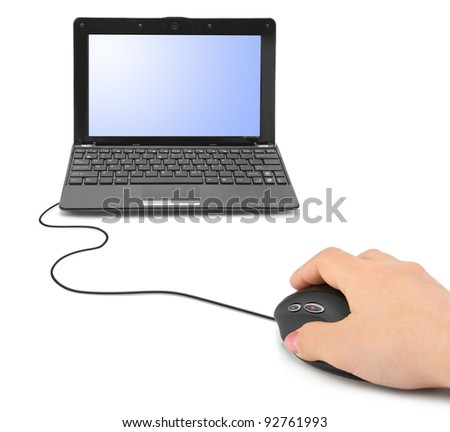 Hand with computer mouse and notebook isolated on white background