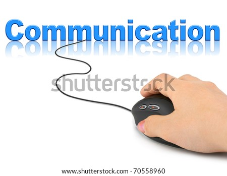 Hand with computer mouse and word Communication - technology concept
