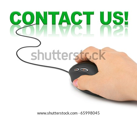 Hand with computer mouse and word contact us - business concept