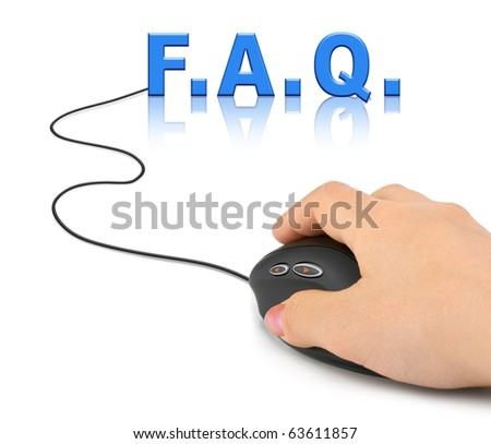 Hand with computer mouse and word FAQ - internet concept