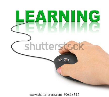 Hand with computer mouse and word Learning - education concept