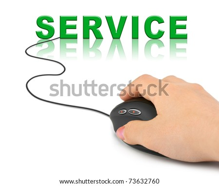 Hand with computer mouse and word Service - internet concept