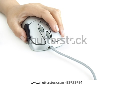 Hand with computer mouse on white background