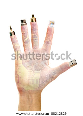hand with computer terminals at their fingertips isolated on white background