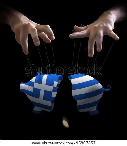 Hand with cords manipulate the Greek economy