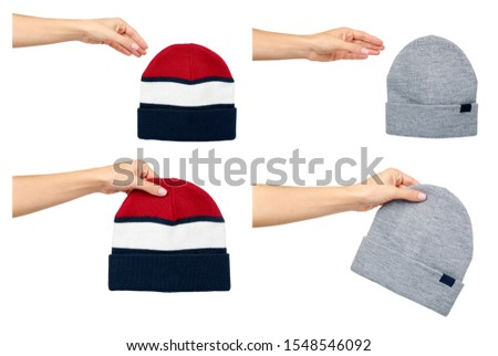 Hand with cotton hat, headgear for cold seasons, set and collection. Isolated on white background