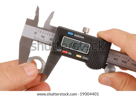 Hand with digital caliper isolated on white