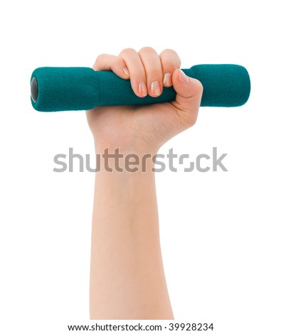 Hand with dumbbells isolated on white background