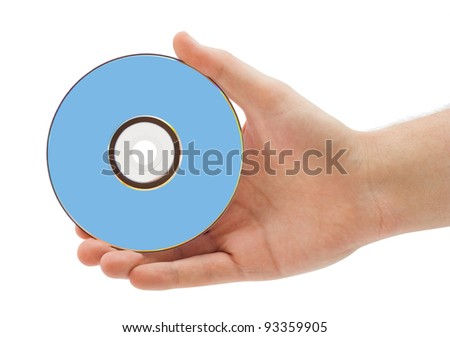 Hand with dvd isolated on white background