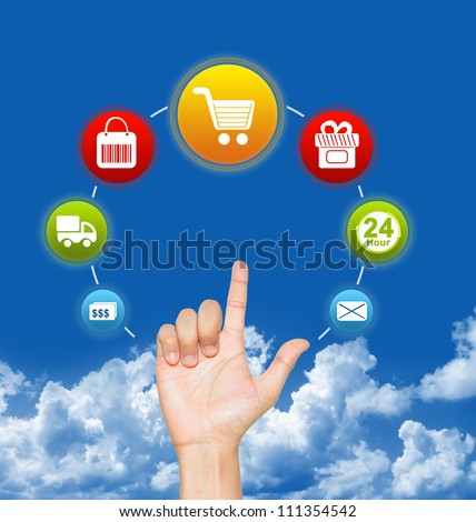 Hand With E-Commerce Icon Around For Internet and Online Shopping Concept in Blue Sky Background