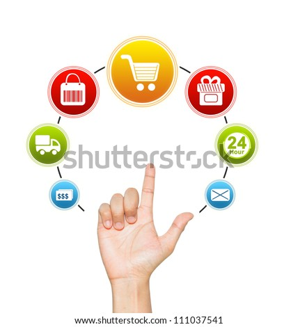 Hand With E-Commerce Icon Around For Internet and Online Shopping Concept Isolate on White Background