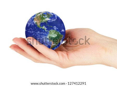 Hand with earth on a white background.Elements of this image furnished by NASA.
