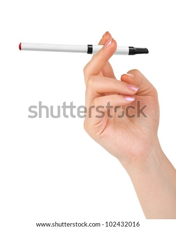 Hand with electronic cigarette isolated on white background