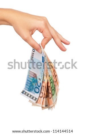 hand with euro isolated on white background