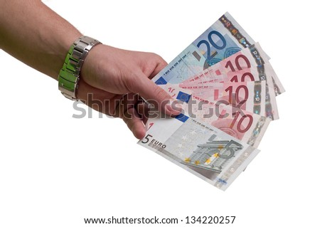 hand with euros  money isolated on white background