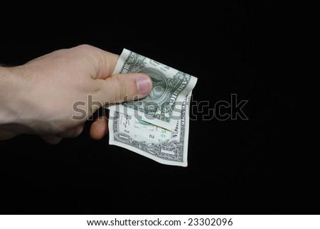hand with few dollar 8