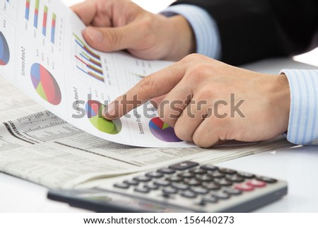 Hand with finance report and accounting business.