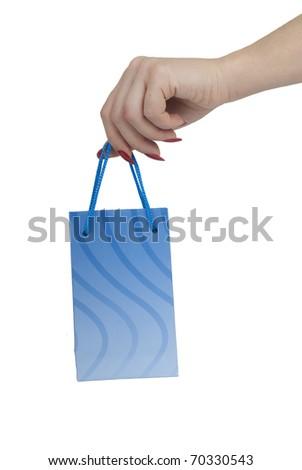 Hand with gift bag